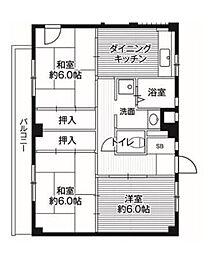 ビレッジハウス亀井野 1号棟[1階]の間取り