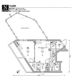 スカイコート品川パークサイドIII 5階1LDKの間取り