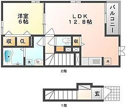 岡山県玉野市田井2丁目の賃貸アパートの間取り