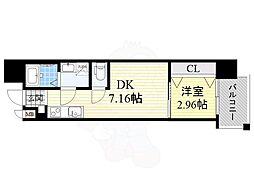 Osaka Metro長堀鶴見緑地線 京橋駅 徒歩3分の賃貸マンション 8階1DKの間取り