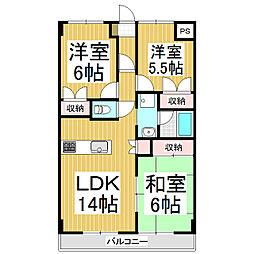 八紘レジデンス[3階]の間取り