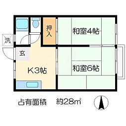 ハウス亀[2階]の間取り