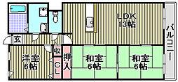 大阪府泉佐野市鶴原の賃貸マンションの間取り