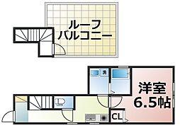 JR関西本線 東部市場前駅 徒歩9分の賃貸アパート 2階1Kの間取り
