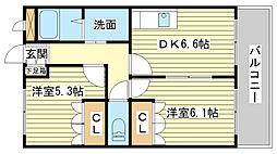 兵庫県姫路市四郷町東阿保の賃貸アパートの間取り