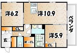 福岡県北九州市小倉北区日明4丁目の賃貸アパートの間取り