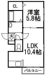 Reve Hiragishi[4階]の間取り