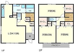 喜多村タウンハウス 2階3LDKの間取り