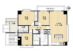 ラナイタウンルネッサンス オーキッドハウス[2階]の間取り