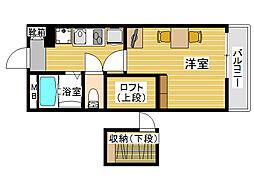 レオパレスカメリア西片江[3階]の間取り