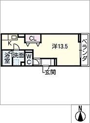 GRANDD-room若宮 2階ワンルームの間取り