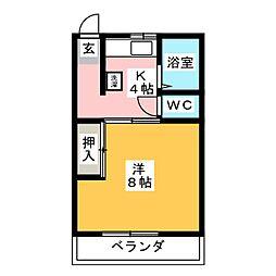 鈴八コーポ2[1階]の間取り