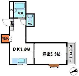 ホワイトアベニュー 4階1DKの間取り