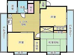 福岡県北九州市小倉南区徳吉西1丁目の賃貸マンションの間取り
