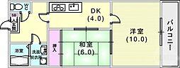 JR東海道・山陽本線 灘駅 徒歩6分の賃貸マンション 1階2DKの間取り