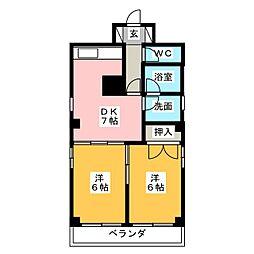 アザリアガーデンA棟[6階]の間取り