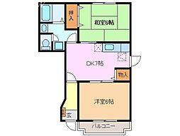 三重県津市高茶屋2丁目の賃貸アパートの間取り