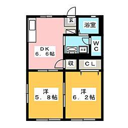 メゾンハピネス[1階]の間取り