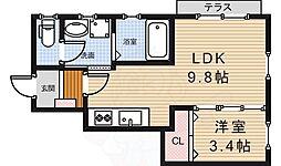 阪急千里線 北千里駅 バス10分 小野原西下車 徒歩6分の賃貸アパート 1階1LDKの間取り