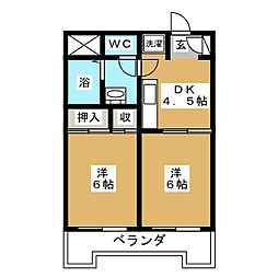 第十三ショーケービル[3階]の間取り