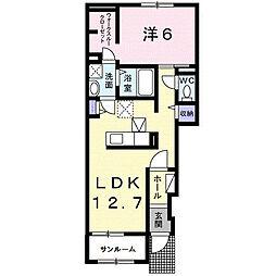 愛知県名古屋市名東区引山2丁目の賃貸アパートの間取り