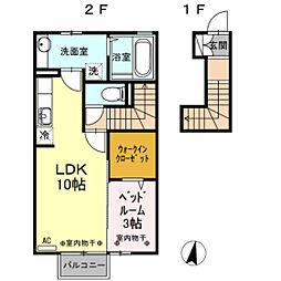 D-room北の森 2階1LDKの間取り
