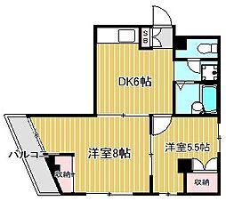 神奈川県川崎市中原区下小田中2丁目の賃貸マンションの間取り