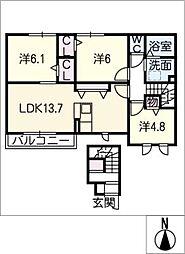 アムール 2階3LDKの間取り