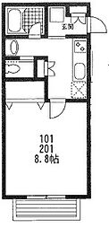 神奈川県大和市西鶴間2丁目の賃貸アパートの間取り