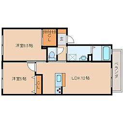 奈良県奈良市八条の賃貸アパートの間取り