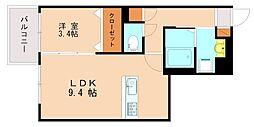 西鉄天神大牟田線 高宮駅 徒歩13分の賃貸マンション 1階1LDKの間取り