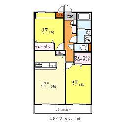 JR阪和線 富木駅 徒歩7分の賃貸マンション 3階2LDKの間取り
