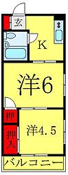 JR埼京線 板橋駅 徒歩4分の賃貸マンション 2階2Kの間取り