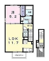 香川県丸亀市塩屋町2丁目の賃貸アパートの間取り