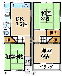 [一戸建] 大阪府枚方市茄子作1丁目 の賃貸【/】の間取り