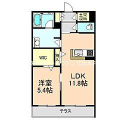 北大阪急行電鉄 桃山台駅 徒歩20分の賃貸マンション 1階1LDKの間取り