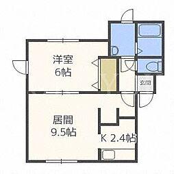 北海道札幌市豊平区月寒東二条9丁目の賃貸アパートの間取り
