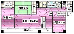 広島県広島市安佐南区川内1丁目の賃貸アパートの間取り