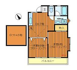 東京都三鷹市牟礼1丁目の賃貸アパートの間取り