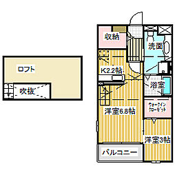 愛知県名古屋市中川区長良町3丁目の賃貸アパートの間取り
