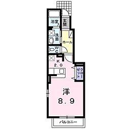 徳島県徳島市鮎喰町1丁目の賃貸アパートの間取り
