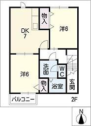 リーヴプランタンB棟[2階]の間取り