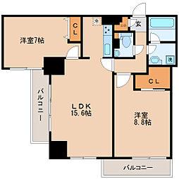 KDX定禅寺通レジデンス 14階2LDKの間取り