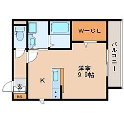 近鉄奈良線 大和西大寺駅 徒歩7分の賃貸マンション 3階ワンルームの間取り