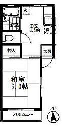 埼玉県所沢市所沢新町の賃貸アパートの間取り