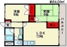 ビュークレスト那珂川[102号室]の間取り