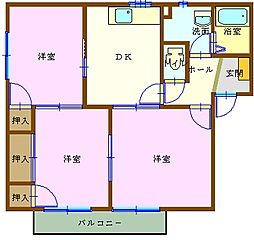 広島県広島市安佐北区可部2丁目の賃貸アパートの間取り
