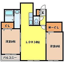 北海道札幌市中央区大通西16丁目の賃貸マンションの間取り