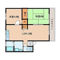 静岡県焼津市道原の賃貸アパートの間取り