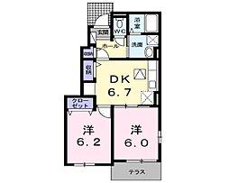 ソレアードM・R[1階]の間取り
